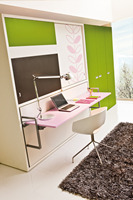 latest UK style MDF horizontal functional wall bed with desk