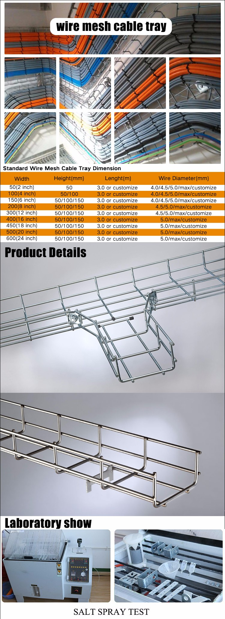 Indoor Outdoor Electrical Galvanized Wire Tray Basket