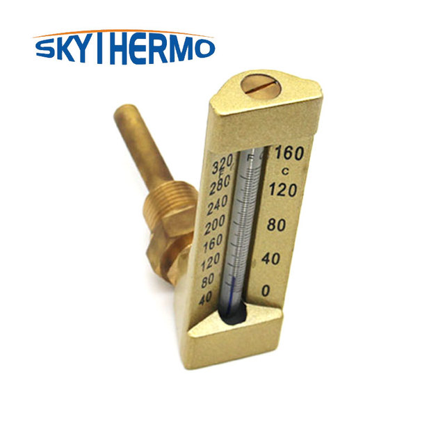 Cheap and high quality 90 v line industrial glass angle thermometer