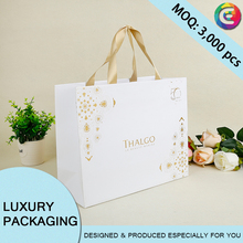 Printed LOGO gift wrapping paper bag with ribbon handle