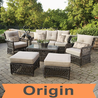 2016 Designer stylist 6pc casual seating set and hand woven rattan bulk outdoor furniture