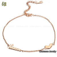 "Couple jewelry new design rose gold plated ""love"" letter stainless steel anklets for her"