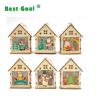 Christmas decoration wooden crafts colorful Christmas log cabin light small house pendant