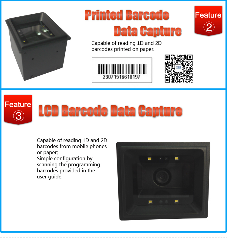Mobile Phone Screen or Printed QR Code Reader for Access Control and Kiosk System