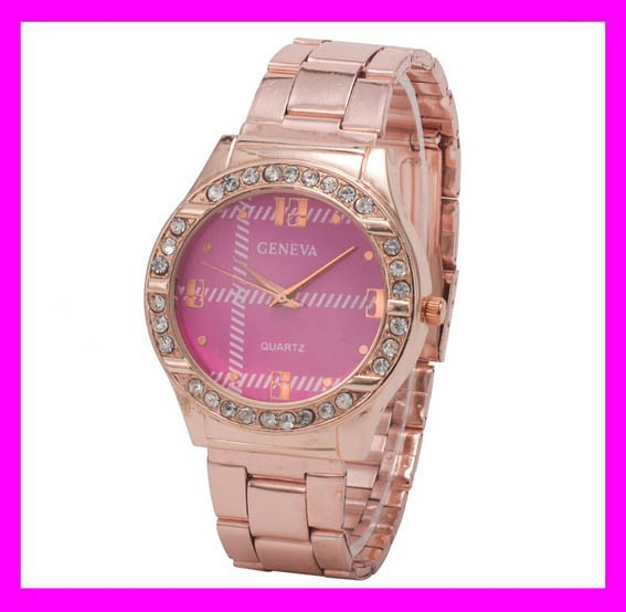 New fashion wholesale rose gold diamond geneva quartz watch water resistant HD1846