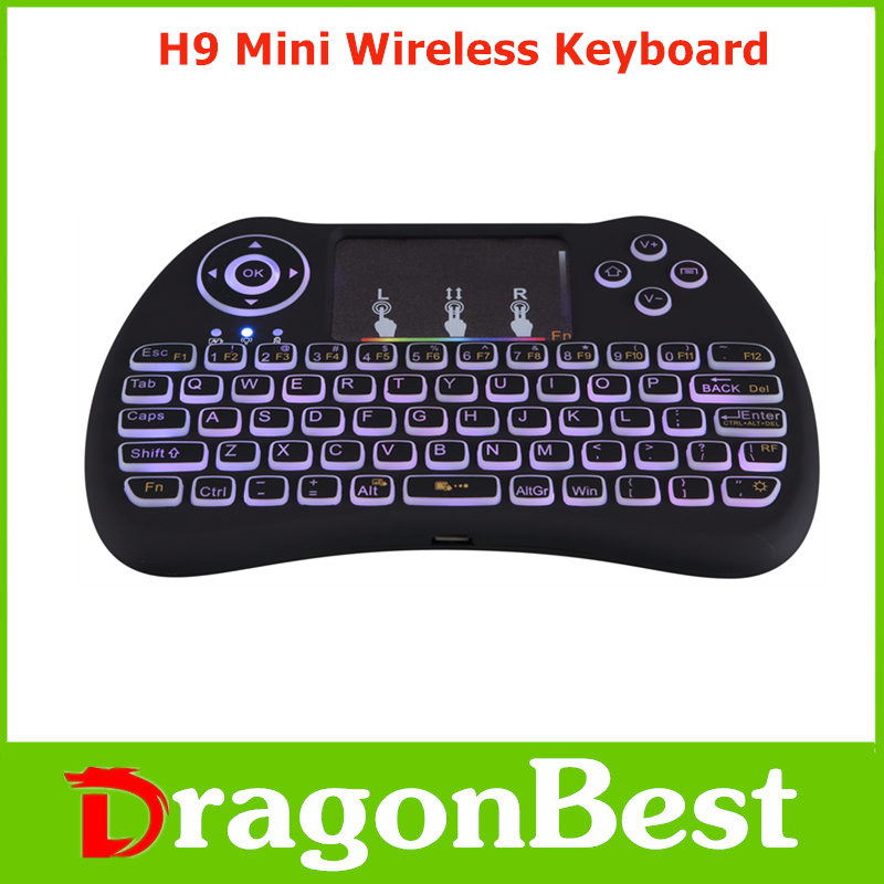 Brand new H9 Mini Keyboard with Touchpad colorful backlit fly mouse with Backlit for sale 2.4G Wireless remote