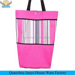 Popular sales polyester foldable shopping bag with wheels