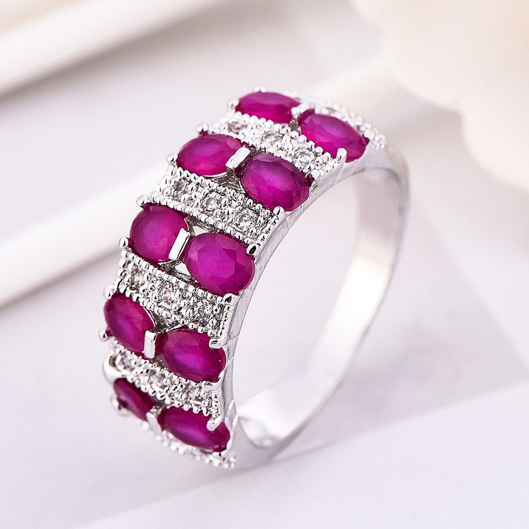 2019 Double Sliver Plated Grade Zircon Diamond Women Wedding Engagement Zircon Rings