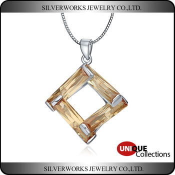 Unique Design 925 Silver Square Pendant With Rose Gold Inter Crossed Wood Shaped Zicron