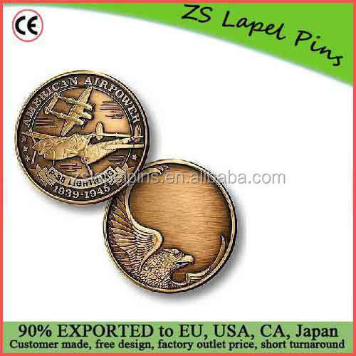 Free artwork design custom quality P-38 Engravable Bronze Antique Challenge Coin