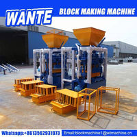 WANTE BRAND QT4-24 manual hollow block making machine for fork truck