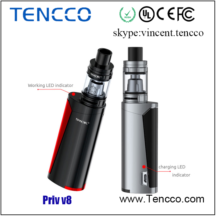 2017 SMOK newest e cigarette Priv v8 kit with TFV8 baby tank from Tencco