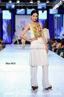 white sleeveless shirt with trouser party dress BE-M31