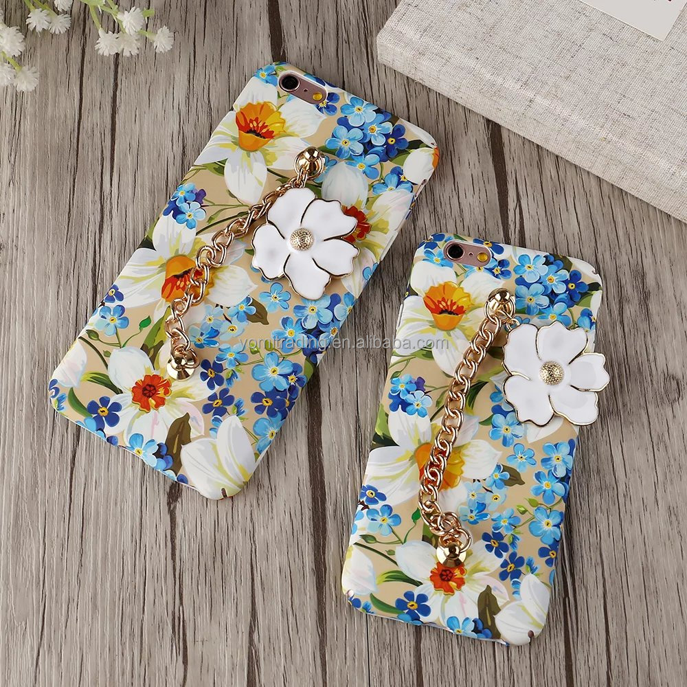 Luxury Colorful Flower with Hand Chain strap 3D camellia plant Hard PC Phone Cases Back coque cover For iPhone 6plus 6splus