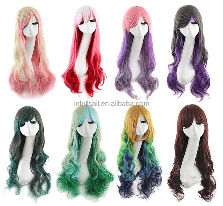 Hot sale Fashion Female Synthetic Hair Colorful Cosplay Wig