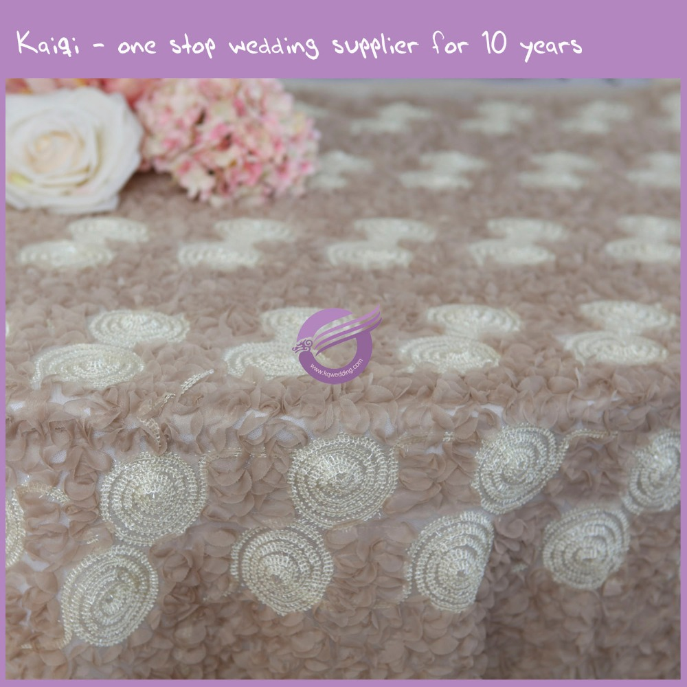 TX39212 cheap wholesale champagne net voile ribbon embroidery table cloths