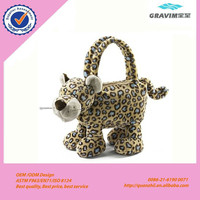 OEM fashionale plush leopard animal skin hand bag for kid