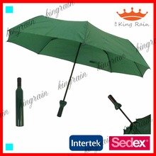 3 fold manual open wine bottle umbrella for wholesale