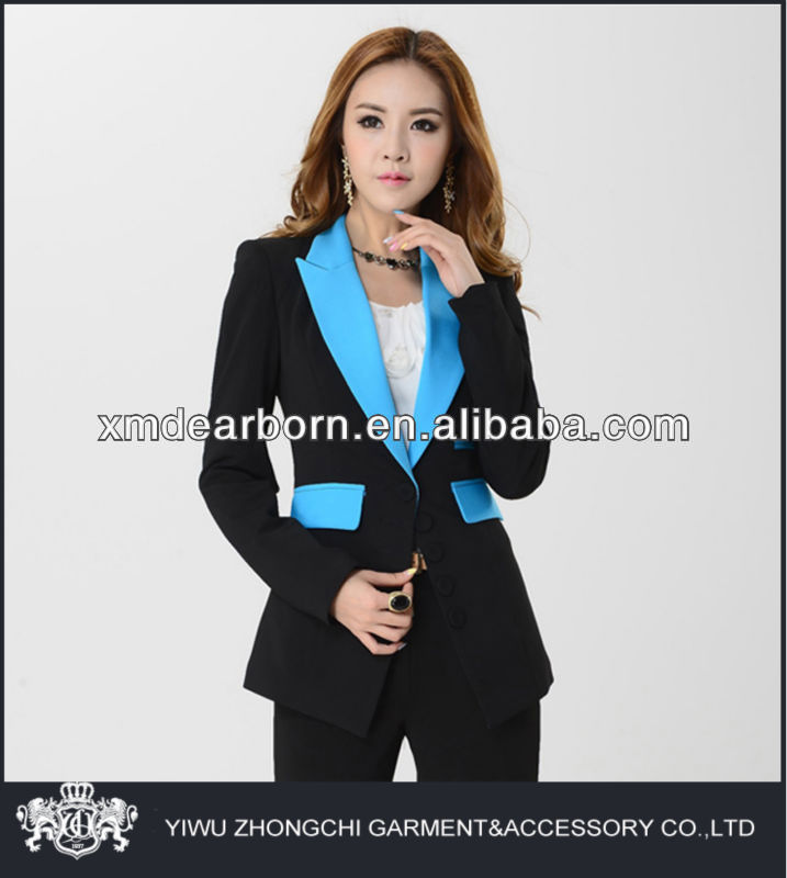 blue lapel fancy ladies cotton suits