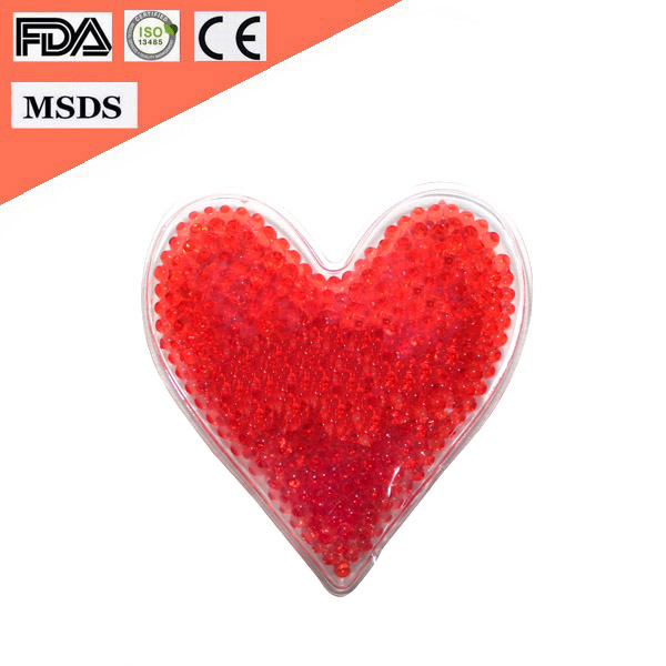 2016 Hot Selling Heart Shape Microwavable Reusable Hand Beads Gel Ice Pack