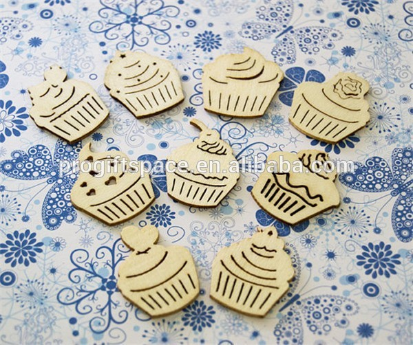 Hot sell Cupcake Wooden Shapes Die Cuts Scrapbook Embellishments made in China