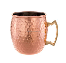 180z Moscow Mule Hand Hammered Copper Mug, 18 oz round copper mugs with Brass Handle, BEER HAMMERED COPPER MULE MUGS