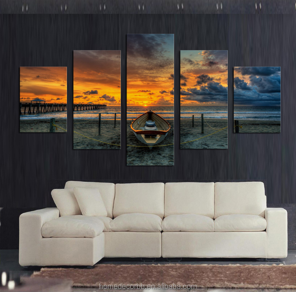 Cheap Wall Canvas Prints Idea Cheap Wall Art Canvas Paintings 5 Panles Seascape Sunset View Canvas