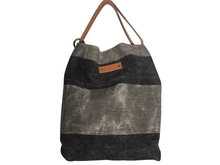 AKleatherware Black and Gray Patchwork Linen Beach Bags with Geuine Leather Handle