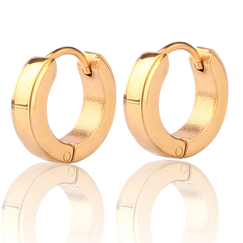 Jewelry wholesale round shaped stainless steel 14k gold earring