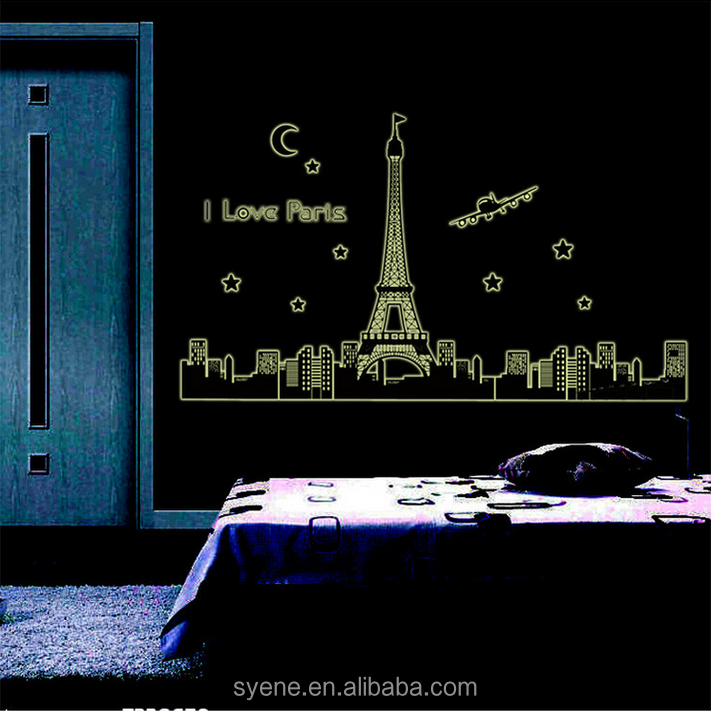 night glow paris Eiffel Tower wall sticker Removable PVC Adhesive HomeDecorative Wall Sticker glow in the dark sticker wallpaper