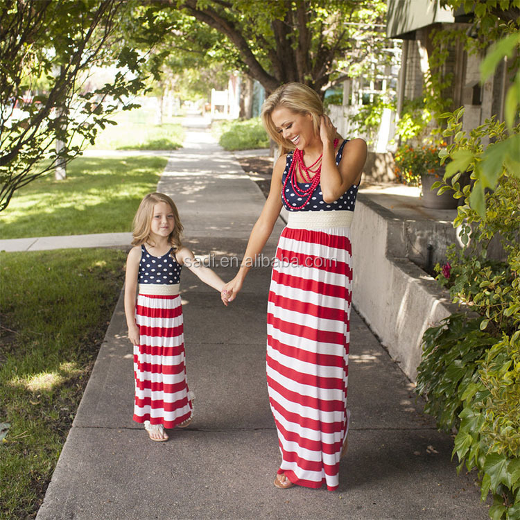 Family Matching Stripe Stitching Beach Long Sundress Mother and Daughter dresses