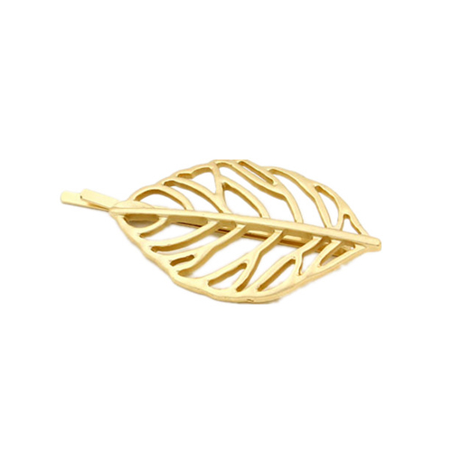 Gold Plated Hair Decoration Hollow Camphor Tree Leaf Side Hair Barrette Pins For Women