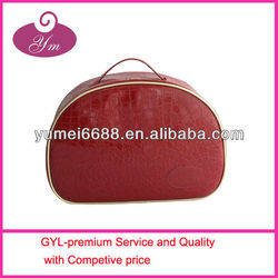 2013 shiny red color cosmetic bag made by crocodile pattern leather