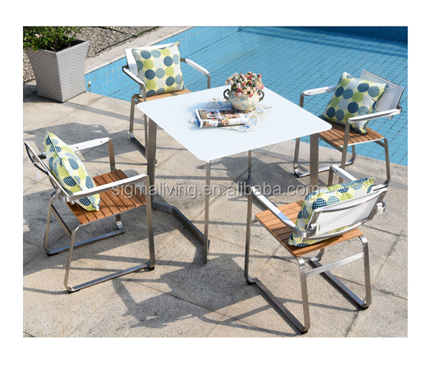 Hot sale modern design outdoor garden furniture stainless steel tea table and chairs set