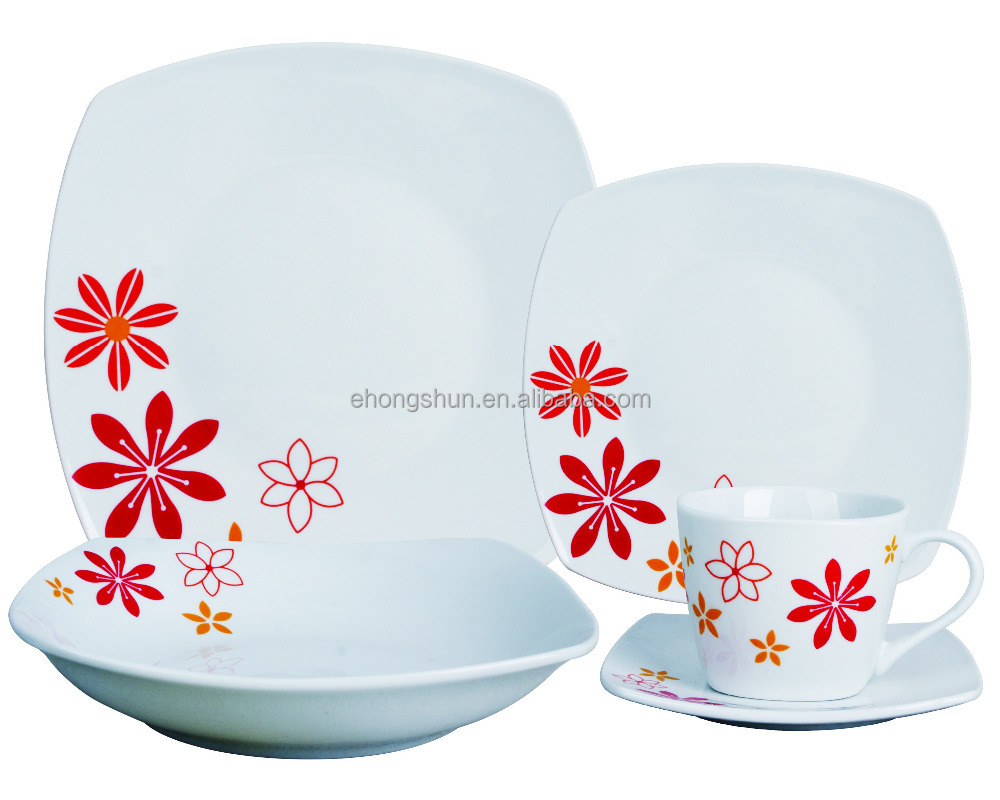 20pcs square shape melamine ware dinner set