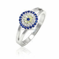 925 sterling silver turkish blue sapphire round yellow clear cz evil eye ring