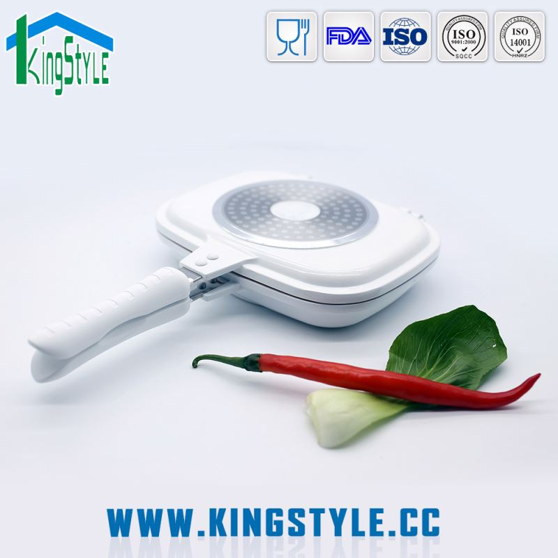 High quality ceramic coating twin pan, ceramic induction non-stick fry pan as seen on tv