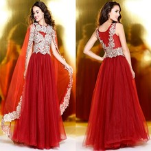 Red Arabic Design Appliqued Beaded Long Prom Dresses With Shawl
