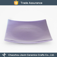 Square restaurant dinner plain plate ceramic violet mexican tableware