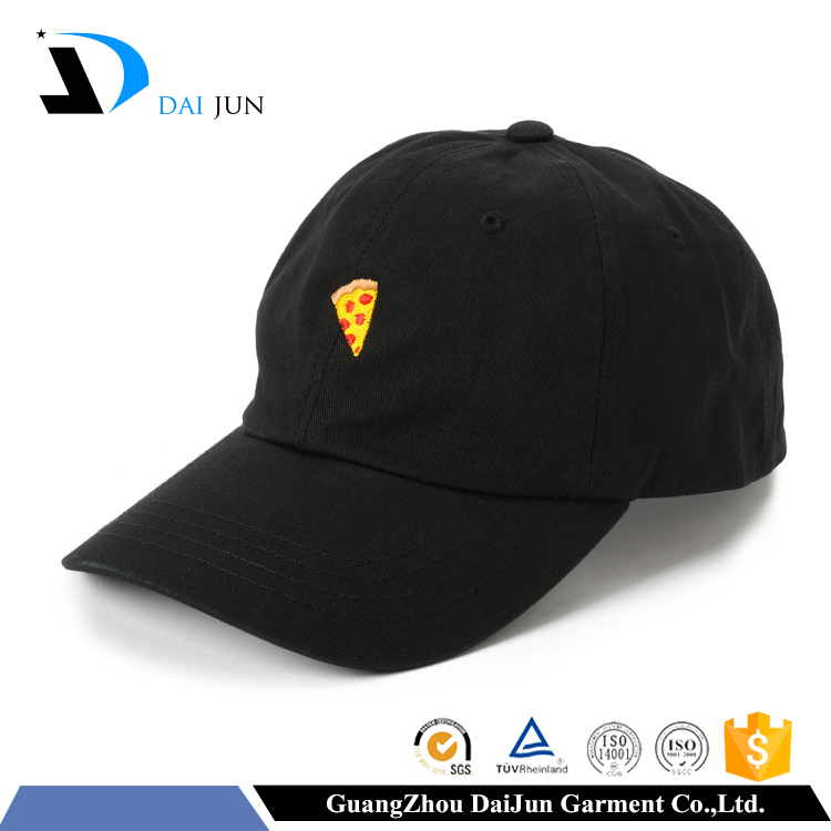 Daijun OEM new design enbroidered logo black cotton baseball 6 panel cap