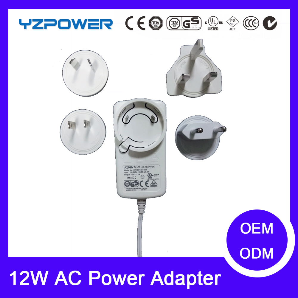 AC DC adaptor 12V 1a power adapter 12w with EU US UK plug supply interchangeable plug
