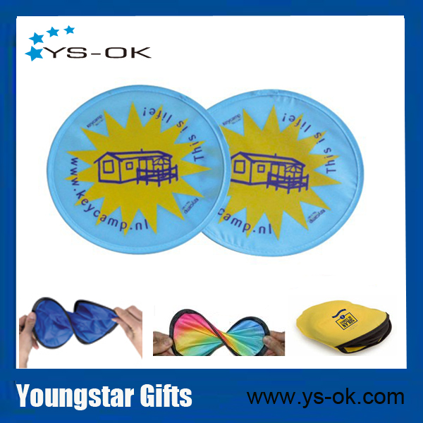 Top quality custom printed collapsible nylon frisbee with pouch