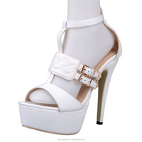 JUSITY white ankle strappy summer high heels buckle sandals shoes imported from china