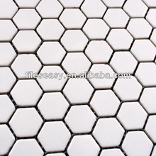 Hexagon white ceramic mosaic tiles for swimming pool and bathroom