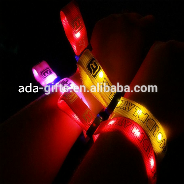 Custom logo Light Up Party Sound Motion Activated Remote Radio RFID Controlled Flash LED Bracelet