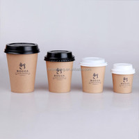 Disposable brown single wall hot coffee kraft paper cup with lid