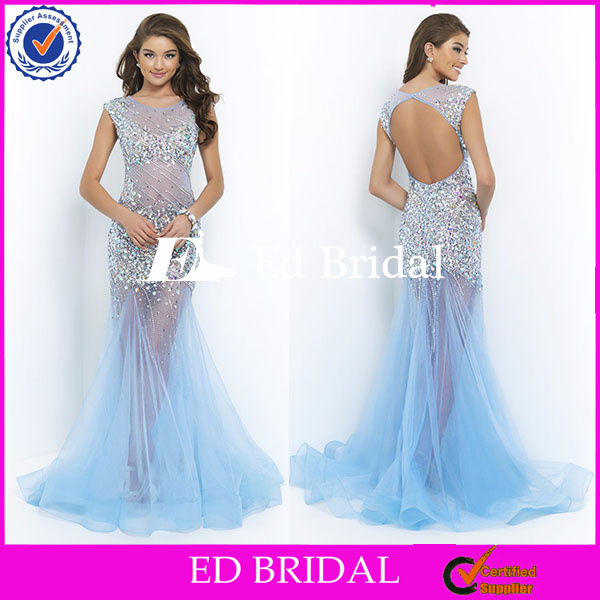 ST217 Luxury And Beautiful Sexy See Through Light Blue Key Hole Back Heavy Beadeded Long Party Mermaid Evening Dress