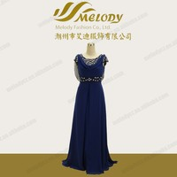 Embroidery designed beading blue sexy neckline ladies chiffon arabic evening dress