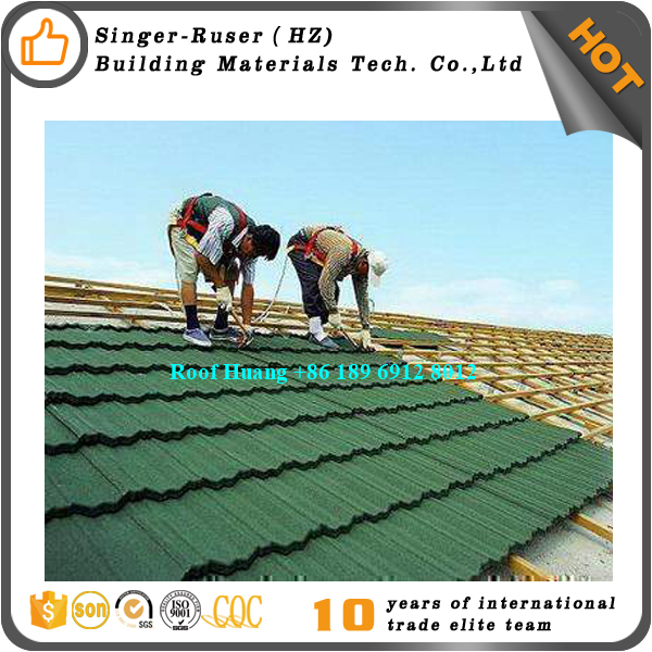 3. Alibaba factory selling popular Waviness Stone Coated Roof Tile / Aluminum Zinc Roofing Shingle / Colorful Sand Coated Steel