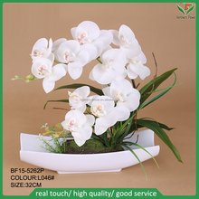 new design artificial orchid flower with plastic pot for interior decoration